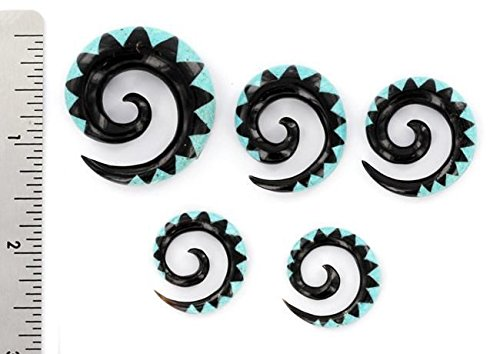 4mm-10mm Price Per 2 Crushed TURQUOISE Stone Inlay on Spiral Horn Organic Body Jewelry