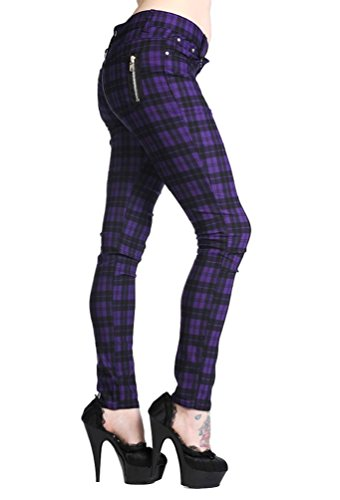 Banned New Women's Plaid Tartan Emo Punk Skinny Trousers Size 26-40 (26 Waist, Purple) Yellow Plaid Pants