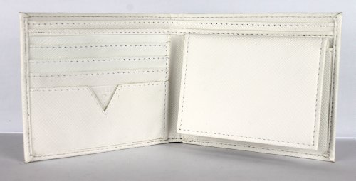 New Guess Men's Leather Dual Billfold Passcase Wallet (White)