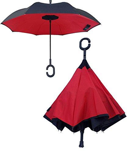 Kona Reverse Folding Umbrella ~ Inverted 60 MPH Windproof Travel Umbrella With Tote Bag, Ninja Grip Handle & Walking Stick Tip