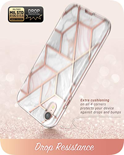 i-Blason Cosmo Full-Body Bumper Case for iPhone XR 2018 Release, Pink Marble, 6.1