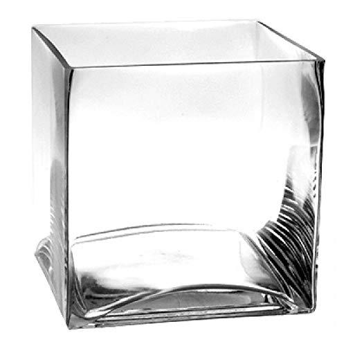 Square 8 Vase (CYS EXCEL Glass Cube Vase, Cubic Flower Vase, Squared Candle Holder, Centerpiece Cubed Vase, Pack of 1)