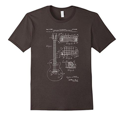 Mens Music T-shirts (Mens Classic Vintage Patent Print 1955 Rock Guitar T-Shirt Large Asphalt)