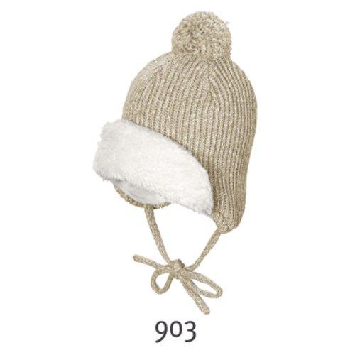 Bekleidung 45 Sterntaler Winter Babyhut natur mit Plüsch und Bommel 72315 Gr