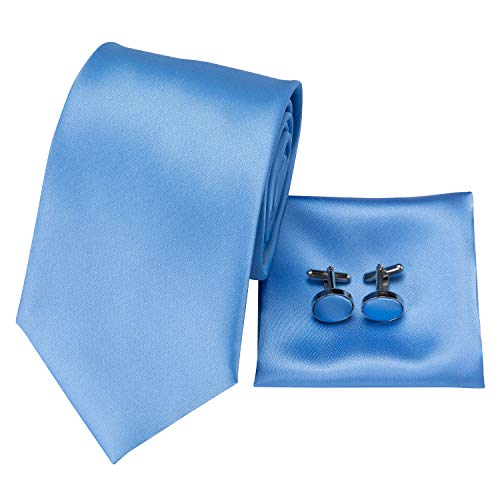 - Hi-Tie Classic Mens Blue Tie Necktie Pocket Square Cufflinks Gift Box Set (Pure solid Blue)