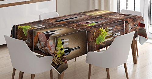 Ambesonne Wine Tablecloth, Wine Themed Collage on Wooden Backdrop with Grapes and Meat Rustic Country Drink, Dining Room Kitchen Rectangular Table Cover, 52 W X 70 L Inches, Brown Black -