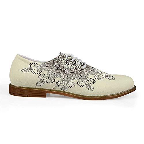 Lotus Stylish Leather Shoes,Arabesque Mandala Ritual Symbol Universe Unity of Life Shabby Chic Ethnic Motif Decorative for Men,US -