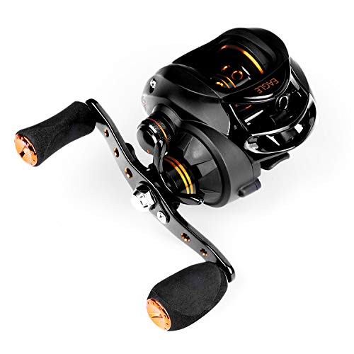 Akataka Baitcasting Fishing Reels - Light Weight Durable 7:1 High Speed Gear Ratio Casting Reel with Magnetic Braking System,Fishing Reel with Comfortable Eva Knobs (Black- Right Handed Reel)