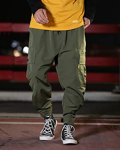 Poche Sports Vert Pantalon Casual Cargo De Hop Hommes Foncé Baggy Hip Multi agqwznpR