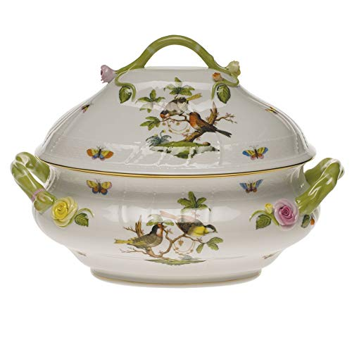 Herend Rothschild Bird Porcelain Tureen With Branch Handle