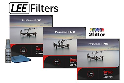 LEE Filters SW150 ProGlass IRND Premium 3 filter Collection - Includes 150mm IRND 1.8 6-stop, SW150 ProGlass IRND 3.0 Filter 10-Stop, SW150 ProGlass IRND 4.5 filter 15-stop and 2filter cleaning kit