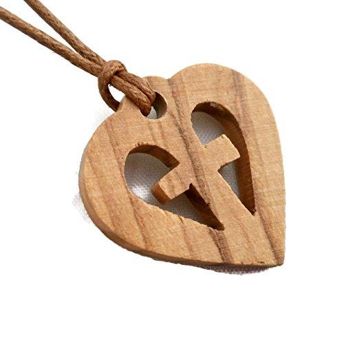 Wooden Cross Designs - Olive Wood Pendant - Heart in Cross Christian Design HJW