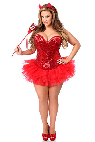 Daisy Corsets Women's Top Drawer Plus Size 4 Pc Sexy Devil Corset Costume, Red, 6X