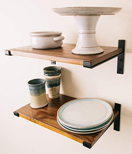 Premium Home Decor Rustic Floating Shelves: Industrial Wall Mounted Shelving, Real Farmhouse Wood Shelf, (Dark Pine) Shelf for Living Room Display, Kitchen, Bedroom Bookshelf, or Bathroom. (Shelves Pine Wall)
