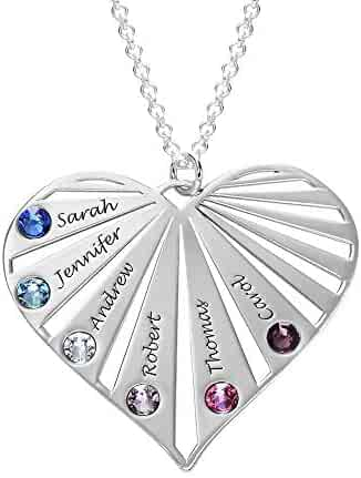 WDDAM Personalized Family Necklace Engraved Any Names with 6 Simulated Birthstones 6 Names Heart Pendant Necklace Custom Mom Child Grandma Name Gift for Wife Mother