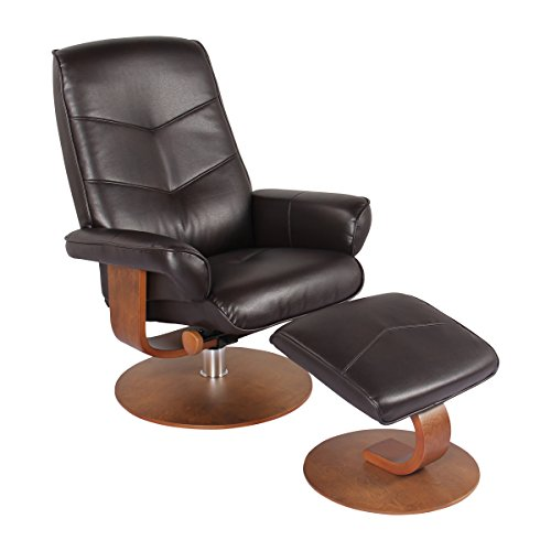 - Nalani Soft Touch Synthetic Leather Swivel Recliner Chair and Ottoman Lounger (Java)