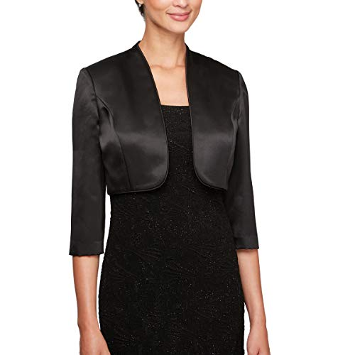 (Alex Evenings Women's 3/4 Sleeve Bolero Shrug Jacket Shawl, Black, M)