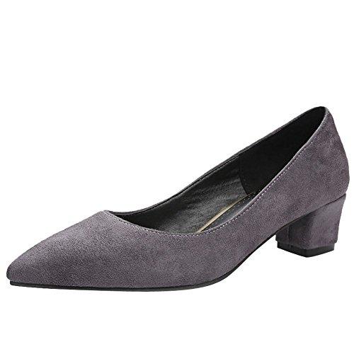 Charm Foot Mujeres Comfort Pointed Toe Chunky Bombas De Tacón Bajo Zapatos Gris