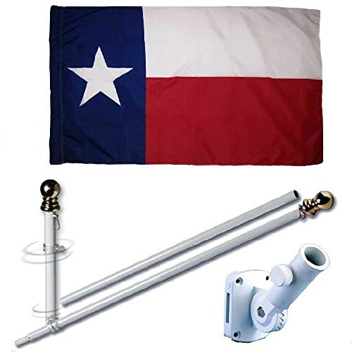 (MWS 3'X5' Texas State Polyester Nylon 150D 3x5 Flag Set (Super Polyester) w/Heavy Duty 6-Feet Spinning Flag Pole Bracket Residential Commercial)