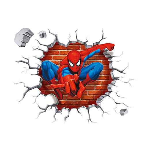 (SeedWorld Wall Stickers - Cartoon Boy's Hero Batman Spiderman Wall Sticker for Kids Rooms Home Decor Wall Art 3D Effect Broken Wall Decal Gift Poster 1)