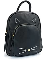 Rising Phoenix Black Cat Vegan Leather Backpack Purse, Mini Back Bag, Long Adjustable Straps