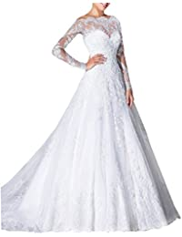 Vintage Inspired Long Sleeve Sheer Lace Bridal Gowns 2017 vestidos de novia M0218