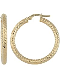 14k Gold 3x25 mm Diamond-cut Finished Round Hoop Earrings (yellow gold or white gold)