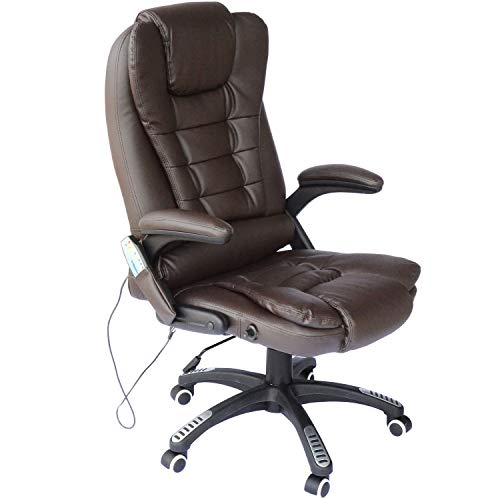 Brown Home Office Style Computer Desk Heated Vibrating Massage Executive Chair Remote Control Ergonomic Design Extra Padded Seat Comfortable Armrests Backrest Pneumatic Seat-Height Adjustment