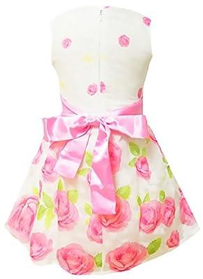 Little Hand Floral Spring Summer Dress for Girls Sleeveless Kids Bow Tie Party Sundress