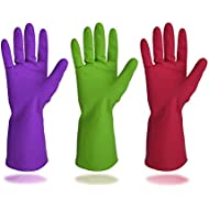 Cleanbear Synthetic Rubber Gloves, Medium Size, 11.8 Inches, 3 pairs 3 Colors.