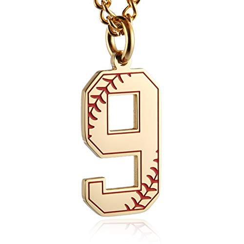 (HZMAN Baseball Initial Pendant Necklace Inspiration Baseball Jersey Number 0-9 Charms Stainless Steel Necklace (9- Gold))
