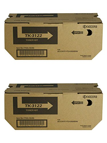 Kyocera TK-3122 (TK3122) Black Toner Cartridge 2-Pack for ECOSYS M3550idn, M3560idn, FS-4200DN