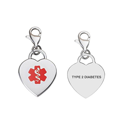 Divoti Pre-Engraved Type 2 Diabetes Adorable Heart 316L Medical Alert Charm/Medical ID Charmw/Lobster Clasp-Red ()