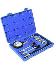 8PCS Professional Automotive Tool Gauge Tester Test Kit Cylinder Compression Gas Engine Set for Car & Truck(Blue)