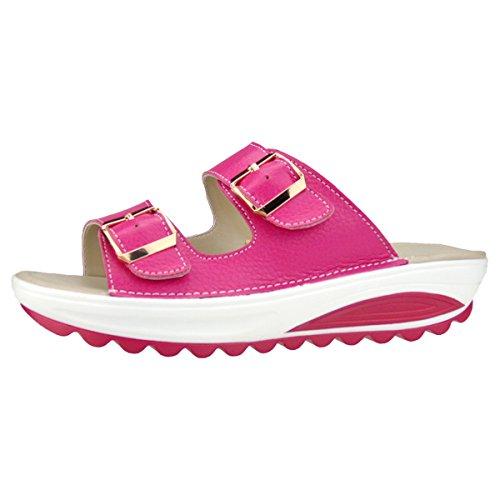 De Slipper Cuero Comodidad Para Slip Gracosy Vacaciones Caminar Flatforms Zapatos Sandalias Mujeres Verano Rosa Rocker Peep Cuña Casual Plataforma Suela Plana On Beach Toe Sandal 8aU5Iwq