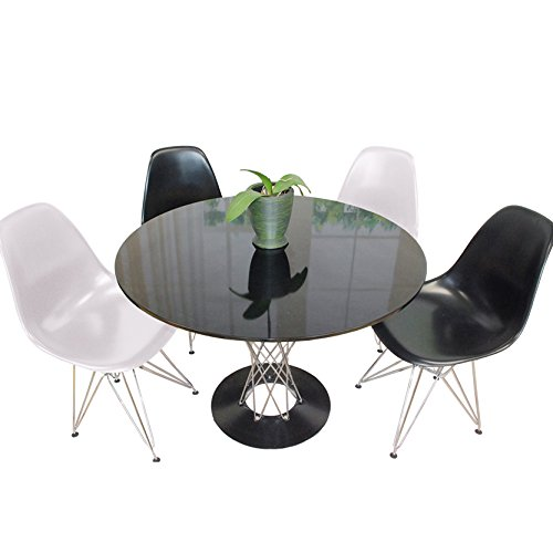 Mod Made Contemporary Twist 5-Piece Dining Set, 39-Inches, Black Table/Black and White (Eames Rectangular Table)