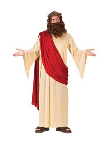 [FunWorld Men's Jesus Adult Costume with Crown and Beard, Cream/Red, One Size Fits Up To 6ft. 200] (Halloween Costume World)