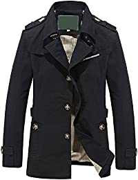 Mans Classic Lapel Single-Breasted Lightweight Casual Trench Coat Windbreaker