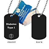 "Pre-engraved ""Diabetes Type 1"" Medical Alert Identification Black Anodized Aluminum Dog Tag. Choose from Diabetes, Coumadin, Blood Thinners, Seizures, Asthma, Pacemaker, Allergy and many more..."