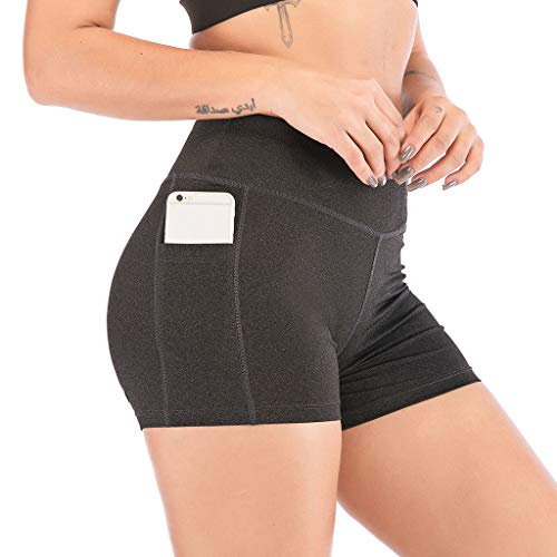 Price comparison product image Women High Waist Yoga Short Pants Side Cell Phone Pockets Sports Shorts Leggings Pants with Pockets (S,  Dark Gray)