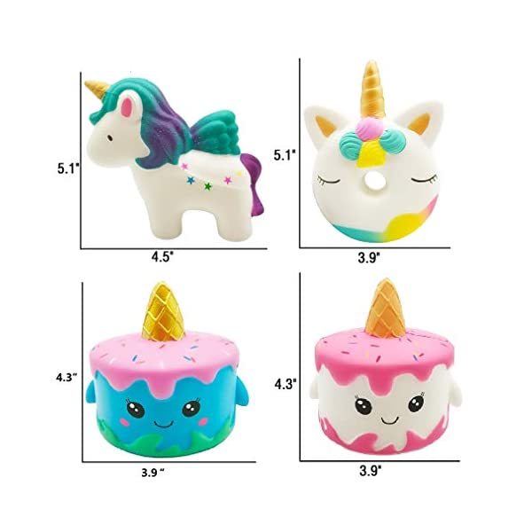 Vanely 4Pcs Slow Rising Jumbo Squishies Narwhale Cake,Uincorn Cake,Unicorn Donut,Rainbow Horse Set Cream Scented Soft Squeeze Novelty Toy Stress Relief Hop Props Sensory Toys 4