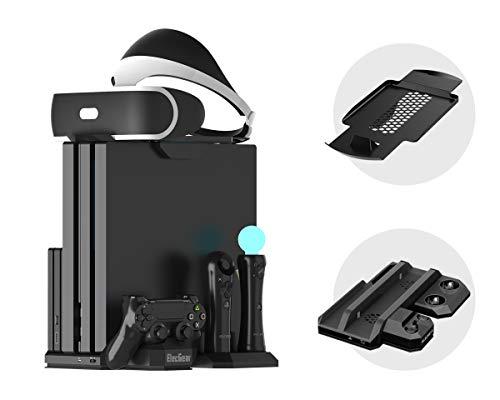 Charger & Vertical Display Stand - Multi Charging Station, Cooling Fan Cooler, PSVR Glasses Holder Bracket for PlayStation PS VR Headset, PS4, Pro, Slim Console, DualShock 4 & Move Motion Controller ()