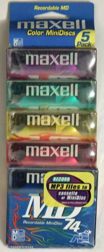 Maxell MD-74 Mini Discs - 5 Pack (Gem Sound Cd Player)
