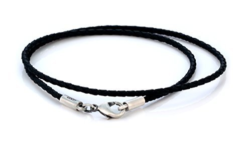 Bico 2mm (0.08 inch) Black Braided Necklace 18 inch Long (CL12 Black 18in) Tribal Street Jewelry