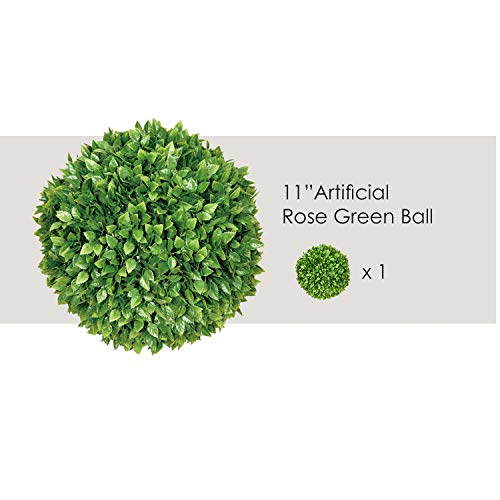 - Ecoopts 11 Inch Artificial Boxwood Topiary Ball Lifelike Rose Leaf Plants Decor Cone for Wedding, Home, Front Patio, Planter, Deck, Garden, Backyard Décor, Multiple Sizes 1 Pack