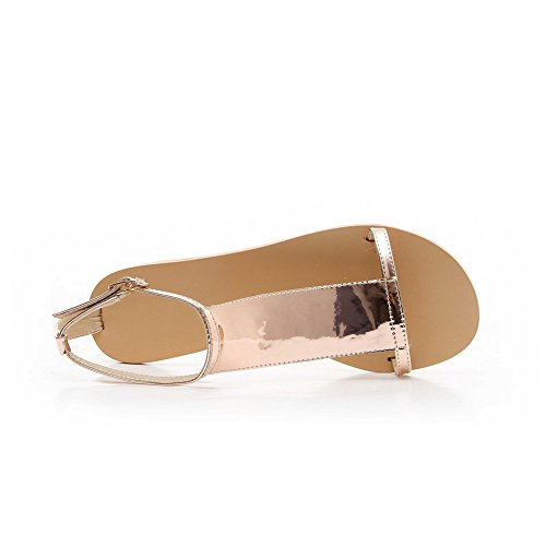 AmoonyFashion Womens Open Toe No-Heel Patent Leather Solid Buckle Flats-Sandals Gold 1UsIZZR8m2