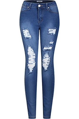 2LUV Women's Stretchy 5 Pocket Destroyed Medium Denim Skinny Jeans Blue Denim (Back Skinny Jeans)