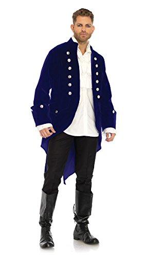 Leg Avenue Men's Blue Velvet Regency Coat, -