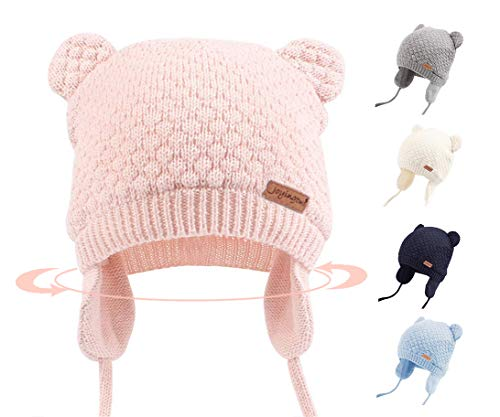 Joyingtwo Soft Warm Knit Wool Cute Bear Baby/Infant/Toddler Beanie Hat with Earflap for Winter/Autumn, Pink M