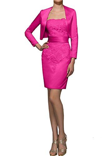 mia Etuikleider Damen mit Abendkleider Dunkel Braut Promkleider Rosa Pink Kurzes Bolero Mini La Festlichkleider Ballkleider PIHdSwP
